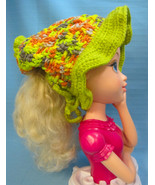 Pony Tail Brim Sun Hat Bright Green/Orange Handmade Crochet by Bren - $20.00