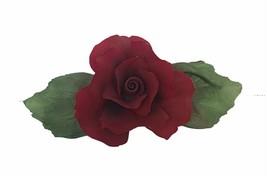 Capodimonte porcelain flower sculpture Italy figurine vtg Gricci Red Ros... - $72.41