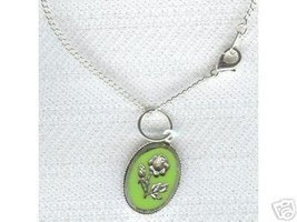 Cameo Look Silver Engraved Flower  Necklace Green - $8.99