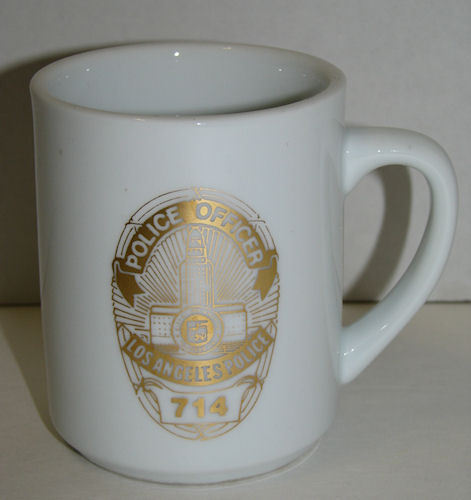 LAPD Los Angeles Police Department Coffee Cup Mug White Gold
