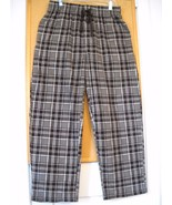 MEN'S FRUIT OF THE LOOM GRAY PLAID PAJAMA STYLE  FLEECE PANTS SIZE L/G 3... - $5.99