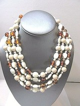 MULTI STRAND 4 FAUX TORTOISE COLOR WHITE BEIGE SHAPES AND TEXTURE BEADED... - $31.00