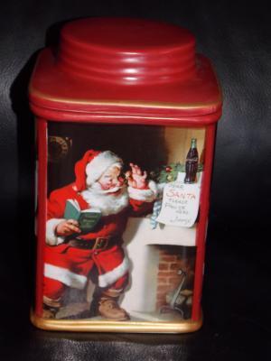 2002 Coca Cola Ceramic Christmas Canister