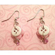 PINK WHITE FLOWER BUTTON PIERCED EARRINGS Pink Glass Bead HANDMADE DROP ... - $4.00
