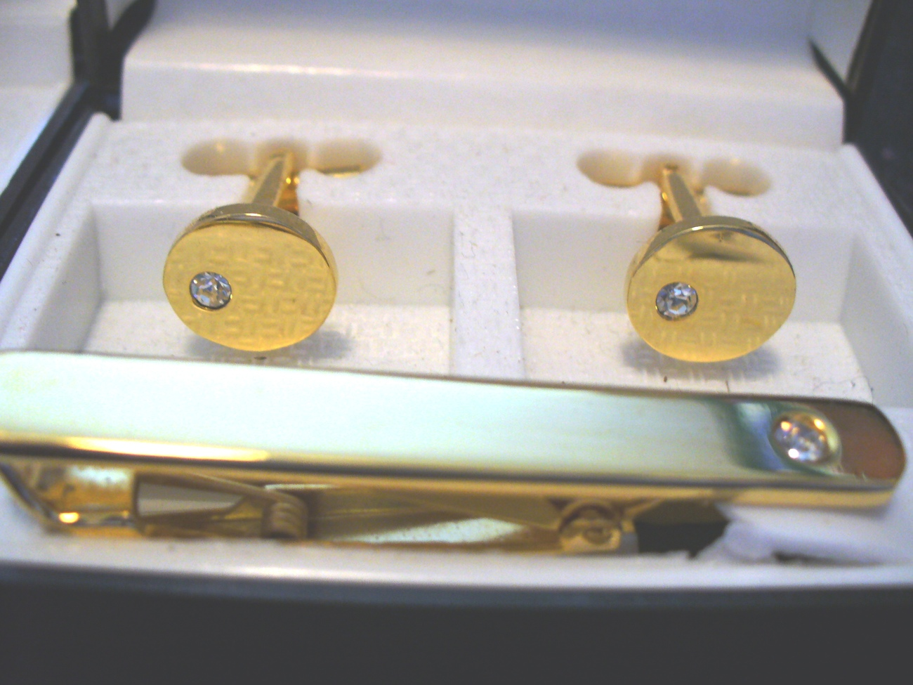 GP Tie Clasp and Cuff Link Set with CZ Bonanza