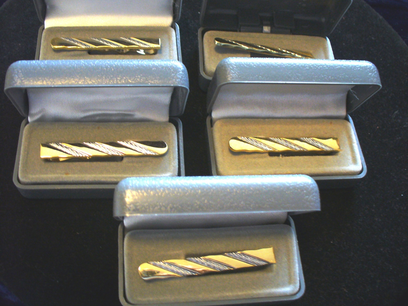 Gold Tone and Silver Stripe Tie Clasp Bonanza