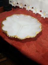 """VINTAGE Anchor Hocking Fire King Milk Glass GoldTrim Divided Serving Dish 9-1/2"""" image 3"""