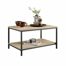 Coffee Table Oak Finish Wood And Metal Frame Industrial Accent Living Ro... - $64.99