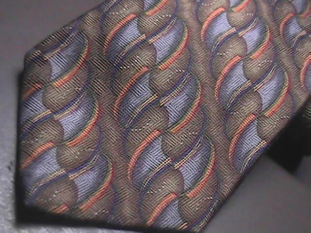 JZ Richards Nordstroms Silk Dress Neck Tie Design No 1814-1 Brown Bluish Silvers J.Z. Richards