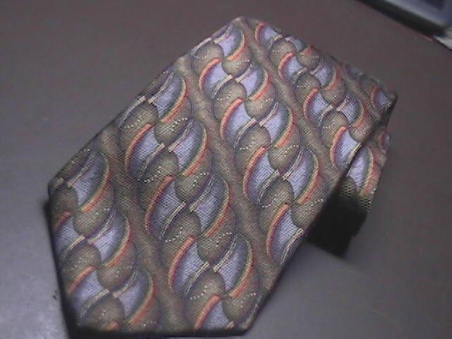 JZ Richards Nordstroms Silk Dress Neck Tie Design No 1814-1 Brown Bluish Silvers