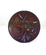 "Kurt McVay 12"" Art Glass Bowl Dark Latticino - $69.99"