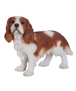 Realistic Life Size King Charles Spaniel Statue Detailed Sculpture Glass Eyes... - $79.19
