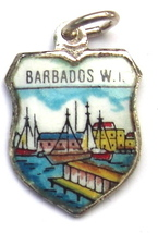 BARBADOS FISH HARBOR Vintage ENAMEL Travel Shield Charm - $22.73