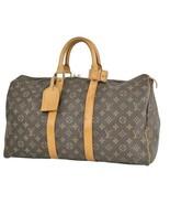 Auth Louis Vuitton Monogram Boston Bag Brown Leather PVC Keepall 50 Logo... - $695.97