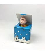 Peanuts Charlie Brown Snoops Small Blue Gift Box Ornament Toy Figurine H... - $12.19