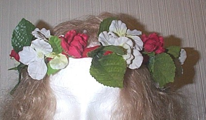 RENAISSANCE RED AND WHITE FLORAL FLOWER  CIRCLET HEADDRESS H
