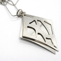 Necklace Silver 925, Chain Rectangular, Double Rhombus Overlay, Satin image 2