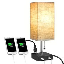 USB Bedside Table Lamp, MOICO Square Fabric Shade Nightstand Lamp with 2 USB Cha