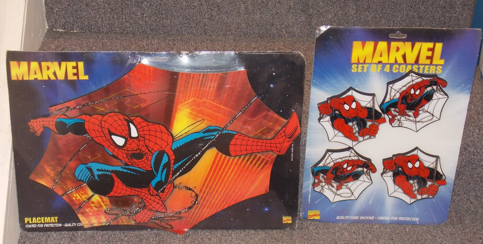 Primary image for 1999 Spider Man Hard Placemat & Set of 4 Coasters New In The Packages