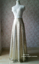 Gold Sequined Maxi Skirt High Waist Full Sequined Wedding Bridesmaid Maxi Skirts image 7