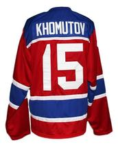Custom Name # Russia CCCP Hockey Jersey New Sewn Red Khomutov #15 Any Size image 2