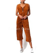 Distressed Suede Women Leather Jumpsuit