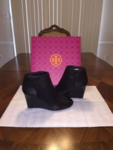 NIB Tory Burch Lowell Leather Wedge Bootie in Black Size 9.5 - $191.33
