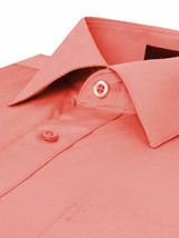 Omega Italy Men's Long Sleeve Solid Regular Fit Coral Dress Shirt - 4XL image 2