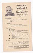 KENNETH E. MORLEY FOR STATE SENATOR LE GRAND 1954 ON REVALUED 2C POSTAL ... - $2.98