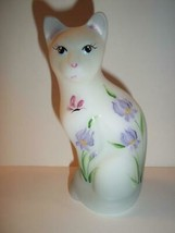 "Fenton Glass ""Chloe"" Purple Irises Special Order Ltd Ed Stylized Cat Fig... - $125.62"
