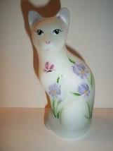 "Fenton Glass ""Chloe"" Purple Irises Special Order Ltd Ed Stylized Cat Fig... - $125.62"