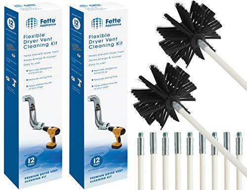 Fette Appliance - Flexible Dryer Vent Cleaning Kit, Lint Remover, Extends up to