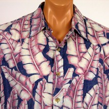Cooke Street Honolulu Hawaiian Shirt XL RP Blue Pink Banana Leaves USA Made - $23.36