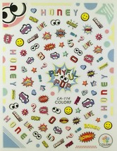 Nail Art 3D Decal Stickers Honey Bang! Love Crash Oops POW Boing WOW Smi... - $3.09