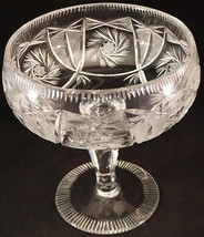 American Brilliant Period Cut Glass Compote Center Foot Serving Bowl Lar... - $29.99