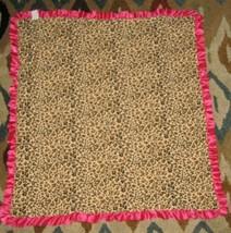 Hot Pink Fuchsia Baby Girl Blanket Minky Ruffle Satin Trim Edge Cotton Leopard - $49.49