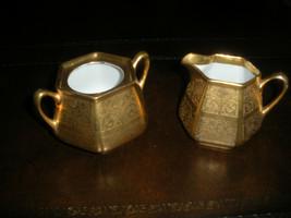 GERMANY GOLD ENCRUSTED CREAMER & SUGAR BOWL ROSE PAISLEY DESIGN FINE POR... - $37.99