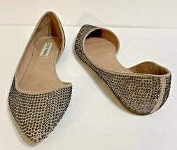 Steve Madden Elizza Womens Party Flats Shoes Rhinestones Pointed Toe Siz... - $19.53