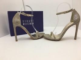 Stuart Weitzman Nudist Platinum Noir Evening Women's High Heels Sandals ... - $221.86