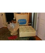 Pretty Crystal lndiana Glass Clear Leaf Design Punch Bowl Cups Hooks 25p... - $61.73