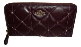 COACH F15763 QUILTED ACCORDIAN ZIP AROUND CLUTCH WALLET OXBLOOD CALF LEA... - $73.83