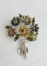 Vintage enamel flower bouquet brooch pin silver tone mid century - $20.79