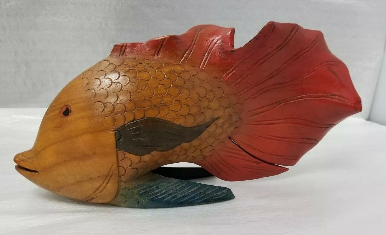 Wood Carving Angel Fish: Hand Carved Hand Painted, Tropical Fish Sculpture,