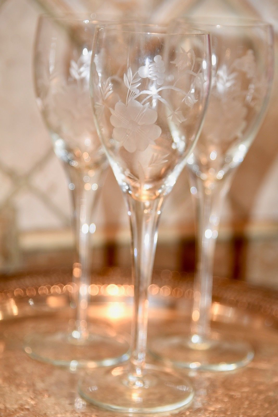 Primary image for Vintage Cut Wheel Floral Etched Clear Crystal 3 Champagne Toasting Flutes 8.25""