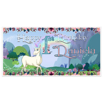 Unicorn Landscape First Birthday Banner Party Decoration Backdrop - £16.51 GBP+