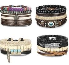 15-16 Pcs Braided Leather Bracelets for Men Women Woven Cuff Bracelet New - $38.99