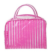 Set of 4 Pink Striped PVC Waterproof Wash Bag Cosmetic Pouch image 2