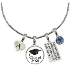 Custom Class of 2021 Graduation Hat Silver Necklace Gift Choose Initial ... - $15.04+