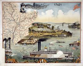 Mississippi Fluss Steamboat Karte von Süd Staaten Repro Plakat 40.6cmx50.8cm - $16.82