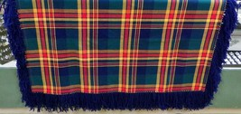 "Native American Wool Shawl Blue Red Green Tartan Plaid Fringe 58""x 42"" M... - $79.99"